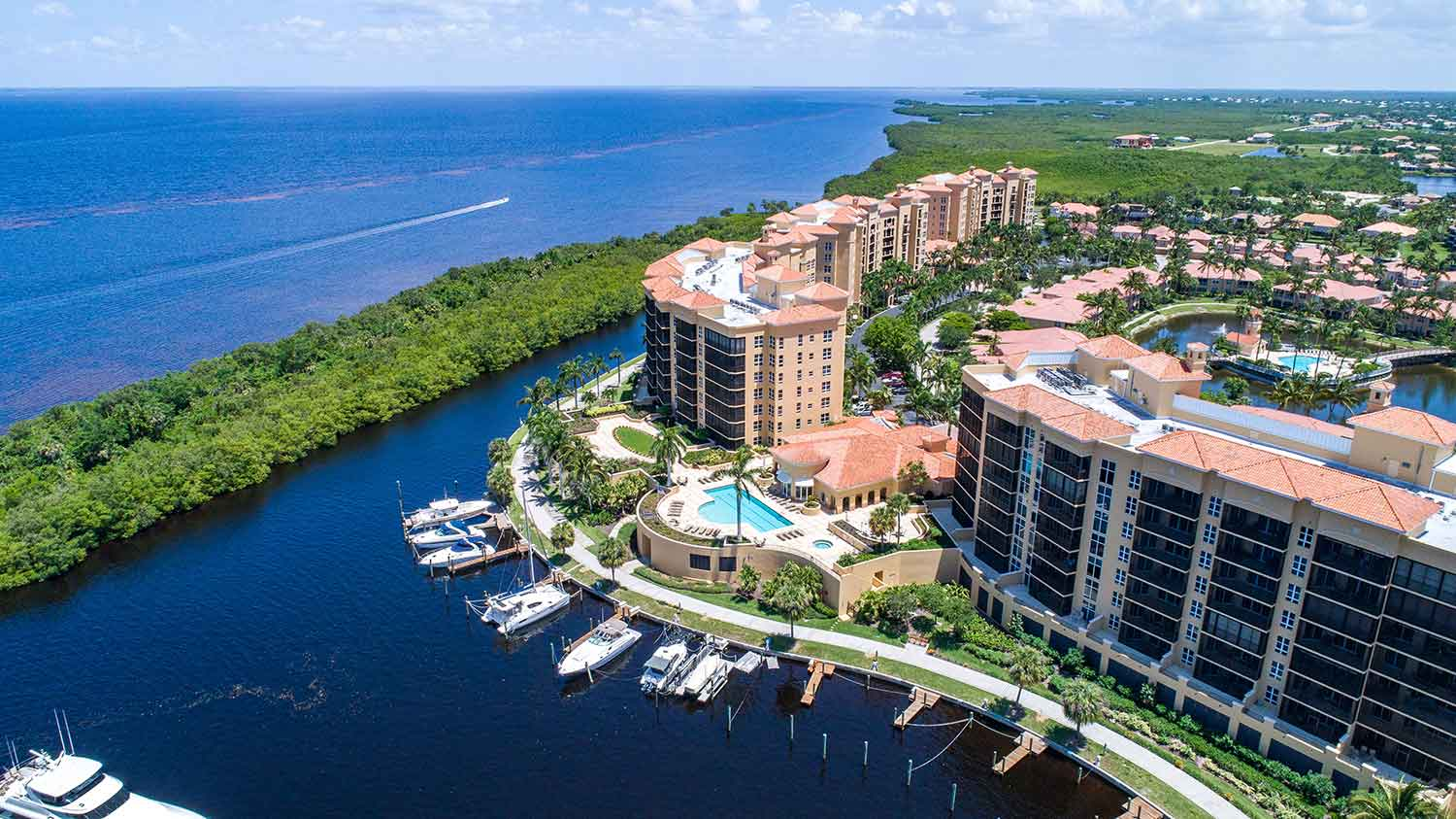 Aerial image of waterfront condos